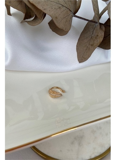 My Joyas Design Zirkon Taşlı Yaprak Kıkırdak Küpe Altın